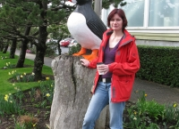 Eva and the Puffin, Oregon March 2010